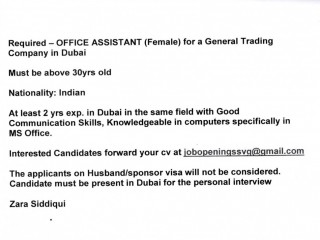 Required OFFICE ASSISTANT (Female) for a General Trading Company in Dubai