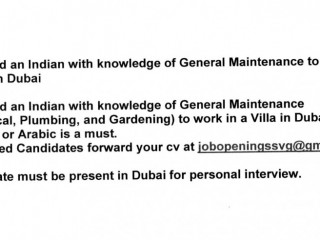 Required an Indian with knowledge of General Maintenance to work in a Villa in Dubai