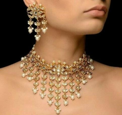 gold-plated-kundan-w-pearl-traditional-handmade-choker-necklace-big-1