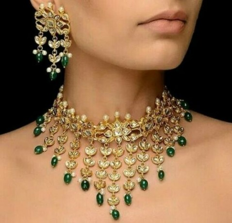 gold-plated-kundan-w-pearl-traditional-handmade-choker-necklace-big-0