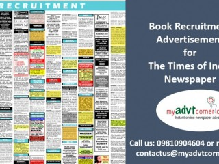 Recruitment Classified Ads in Times of India Newspaper