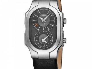 Philip Stein Men's Signature Grey Dial Leather Strap Quartz Watch 200SDGCB