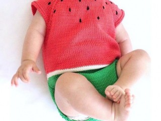 Baby Girls Knitted Romper Toddler Cartoon Watermelon Short Sleeve Overalls Jumpsuit