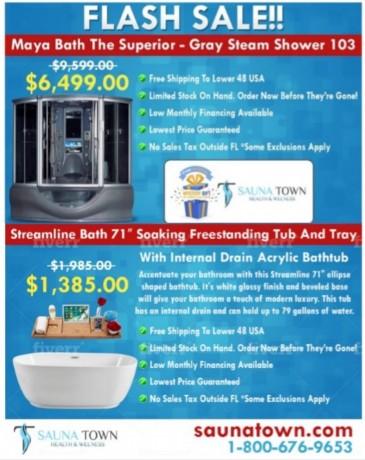 maya-bath-the-superior-gray-steam-shower-streamline-bath-71-soaking-freestanding-tub-and-tray-big-0