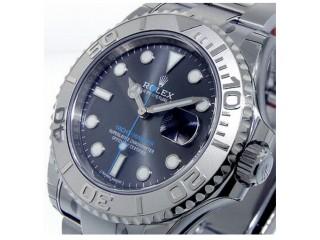 ROLEX 116622 STEEL PLATINUM YACHTMASTER DARK RHODIUM DIAL BLUE HAND