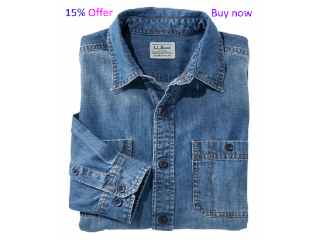 Buy now regular 100% cotton Denim long sleeve shirt