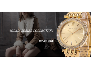 Taylor Cole Luxury Brand Rond Bling Crystal Bezel Relogios Feminino Quartz Analog Clock Wristwatch